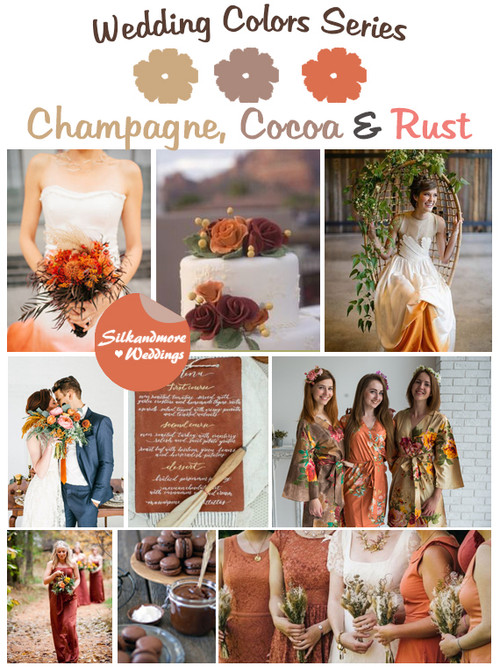 Champagne, Cocoa and Rust Wedding Color Palette