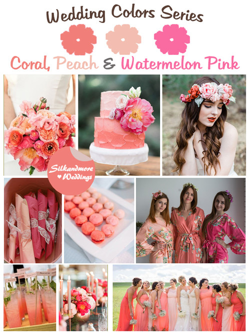 Coral, Peach and Watermelon Pink Wedding Color Palette