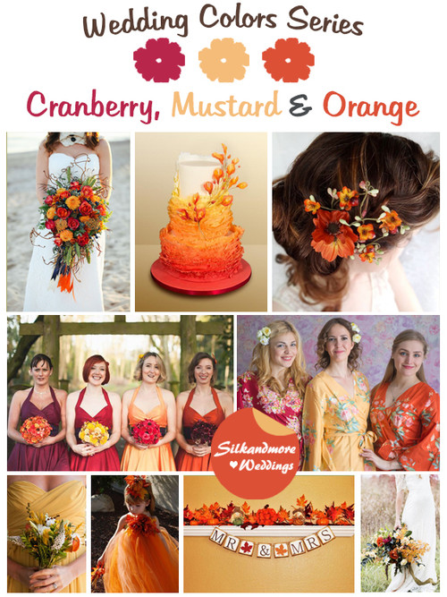 Cranberry, Mustard and Orange Wedding Color Palette