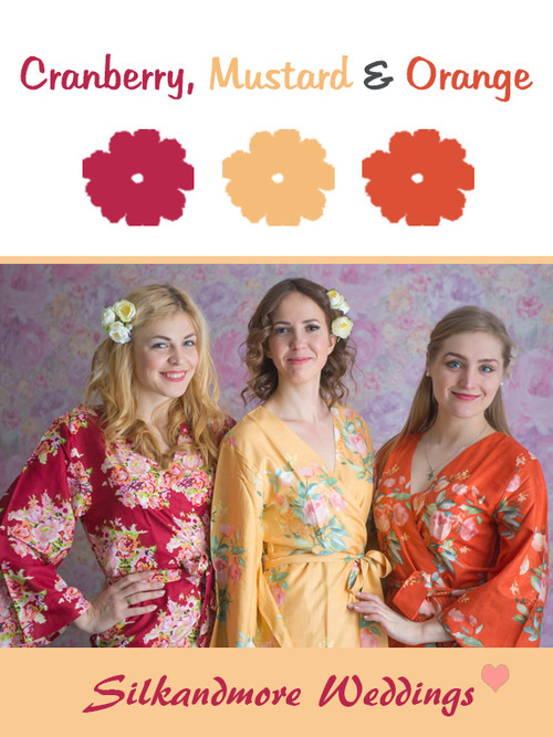 Cranberry, Mustard and Orange Color Robes - Premium Rayon Collection