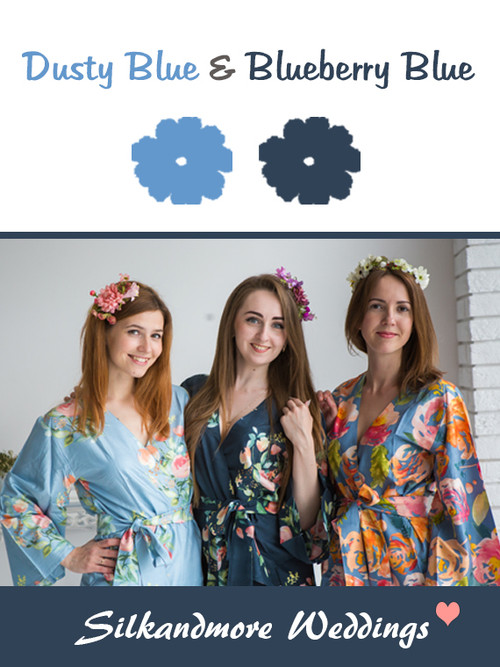 Dusty Blue and Blueberry Blue Color Robes - Premium Rayon Collection