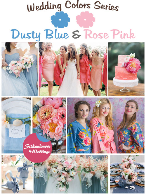 Dusty Blue and Rose Pink Wedding Color Palette