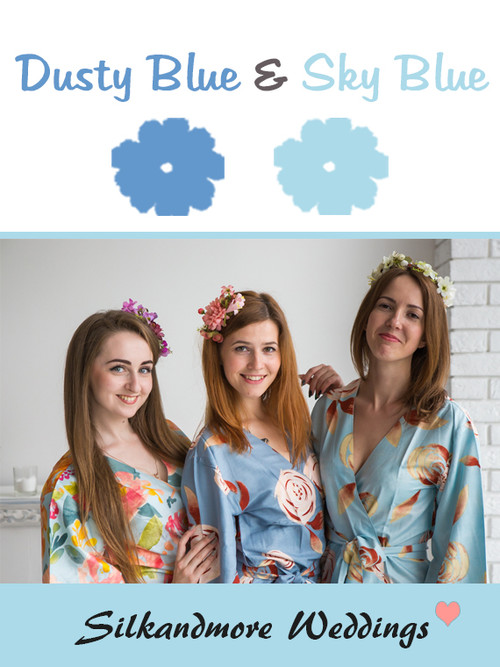 Dusty Blue and Sky Blue Color Robes - Premium Rayon Collection