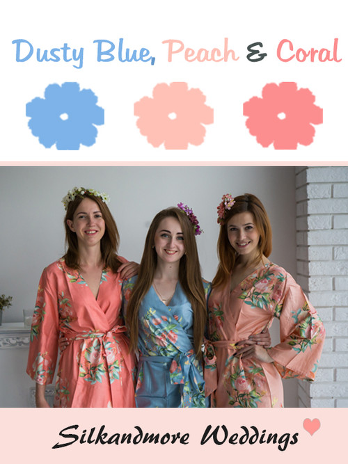 Dusty Blue, Peach and Coral Color Robes - Premium Rayon Collection