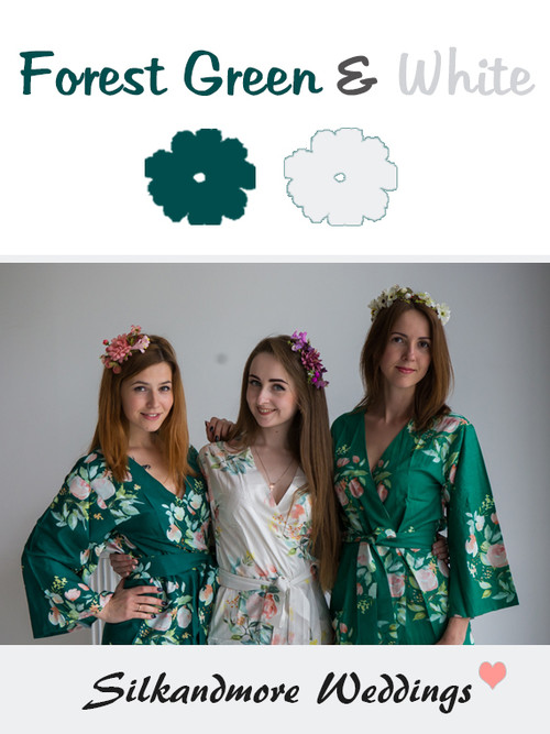 Forest Green and White Color Robes - Premium Rayon Collection