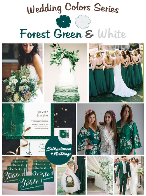 Forest Green and White Wedding Color Palette