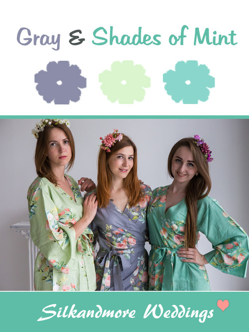 Gray and Shades of Mint Color Robes - Premium Rayon Collection