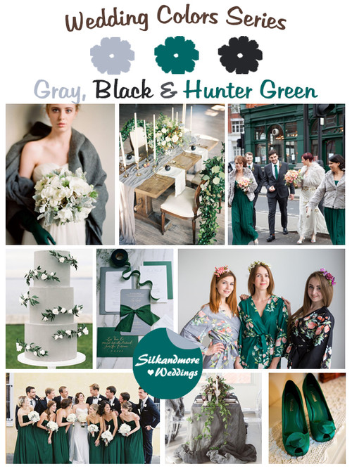 Gray, Black and Hunter Green Wedding Color Palette