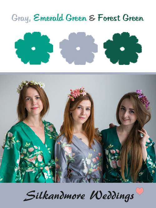 Gray, Emerald and Forest Green Color Robes - Premium Rayon Collection