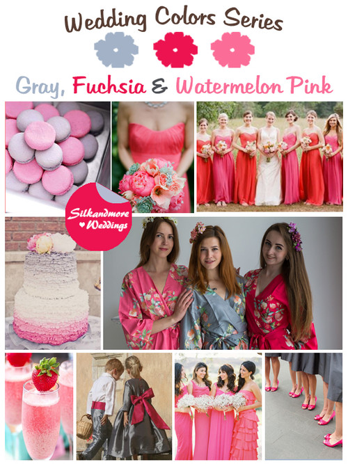Gray, Fuchsia and Watermelon Pink Wedding Color Palette