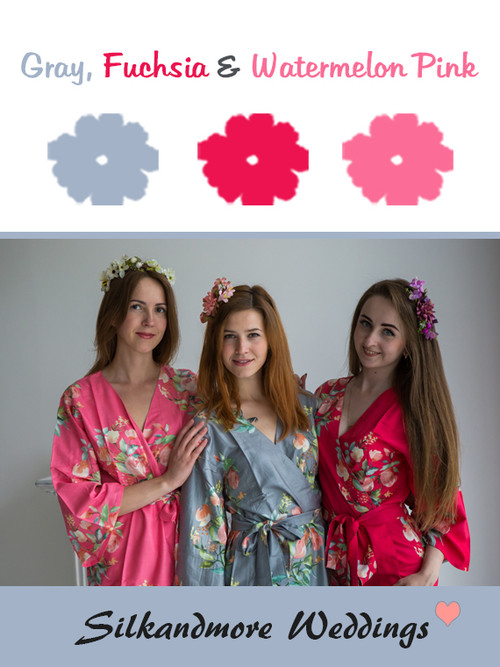 Gray, Fuchsia and Watermelon Pink Color Robes - Premium Rayon Collection