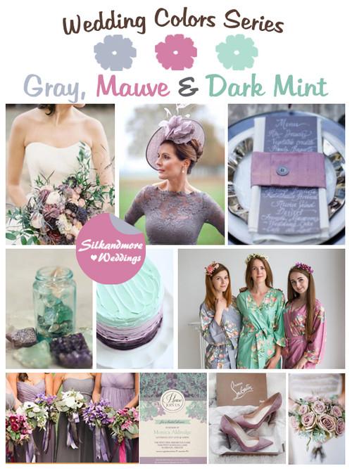 Gray, Mauve and Dark Mint Wedding Color Palette