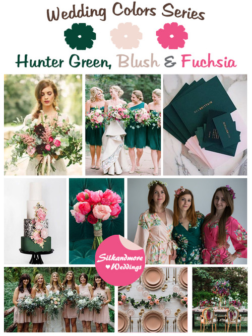 Hunter Green, Blush and Fuchsia Wedding Color Palette