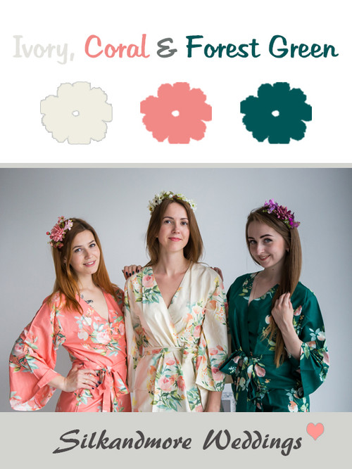 Ivory, Coral and Forest Green Color Robes - Premium Rayon Collection