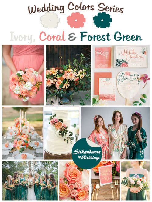 Ivory, Coral and Forest Green Wedding Color Palette