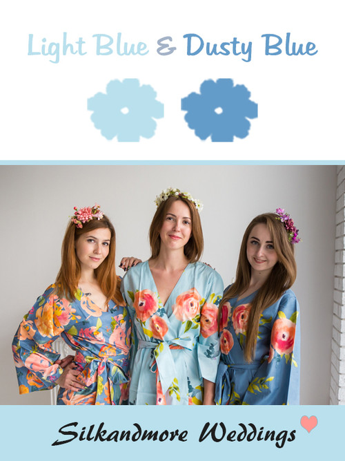 Light Blue and Dusty Blue Color Robes - Premium Rayon Collection