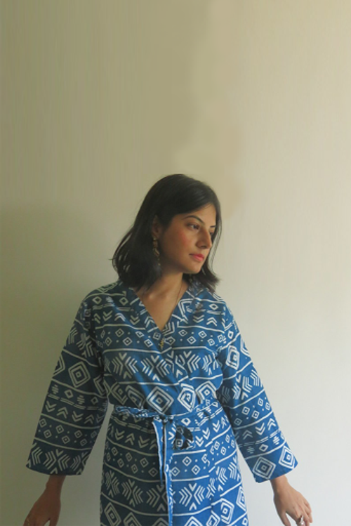 Dark Blue Tribal Aztec Robes for bridesmaids | Getting Ready Bridal Robes