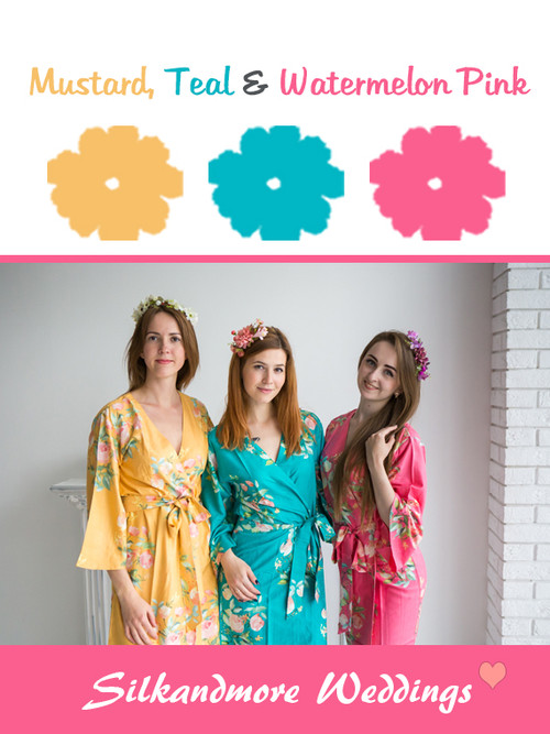 Mustard, Teal and Watermelon Pink Color Robes - Premium Rayon Collection