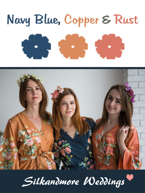 Navy Blue, Copper and Rust Color Robes - Premium Rayon Collection
