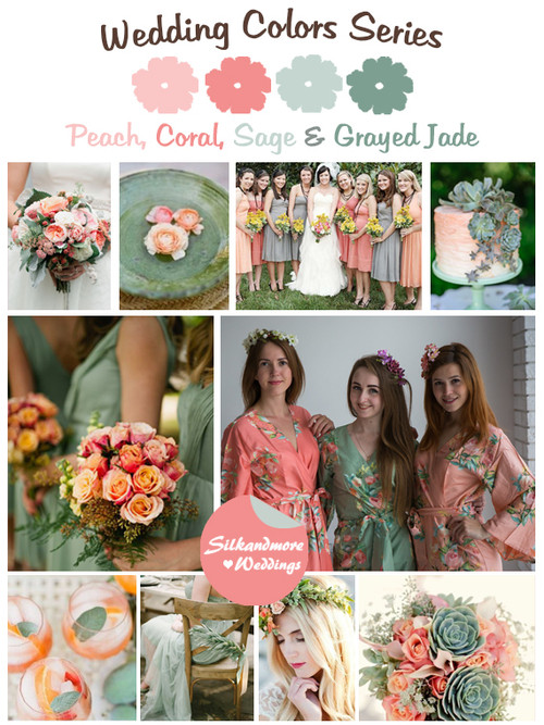 Peach, Coral, Sage and Grayed Jade Wedding Color Palette