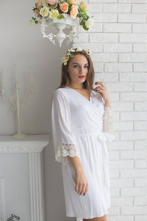 Lace Trimmed Bridal Robe from my Paris Inspirations Collection - Tiny Flowers Scalloped Lace Cuffs