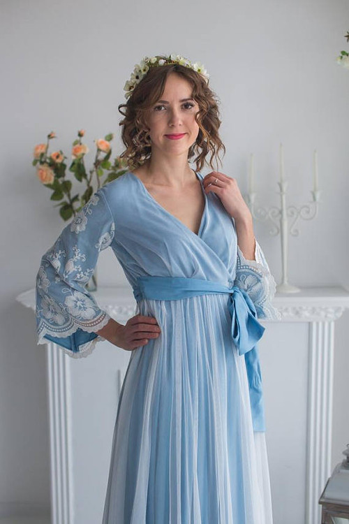 Bridal Robe from my Paris Inspirations Collection - Statement Sleeves in Dusty Blue Floral Scalloped