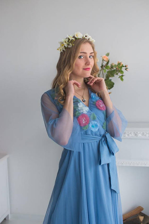Bridal Robe from my Paris Inspirations Collection - Shy Flowers in Dusty Blue