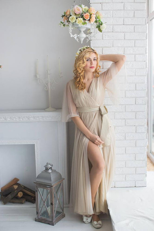 Nude Bridal Robe from my Paris Inspirations Collection - Minimal Mojo in Nude