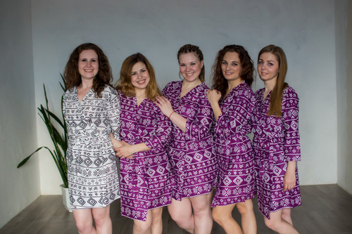 Bridesmaids in geometric aztec patterned getting ready robes