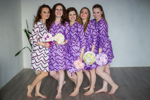 Lilac Chevron Robes for bridesmaids | Getting Ready Bridal Robes