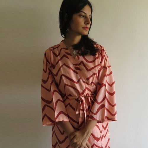 Peach Chevron Robes for bridesmaids | Getting Ready Bridal Robes