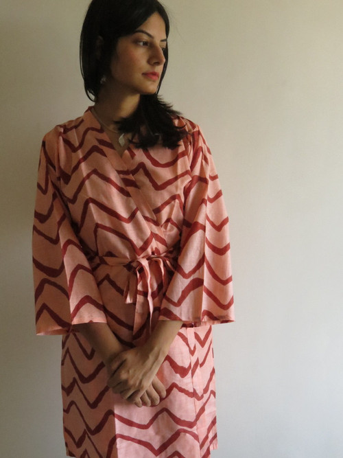 Peach Chevron Robes for bridesmaids | Getting Ready Bridal Robes