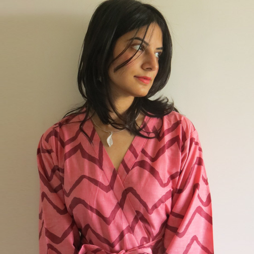 Raspberry Chevron Robes for bridesmaids | Getting Ready Bridal Robes