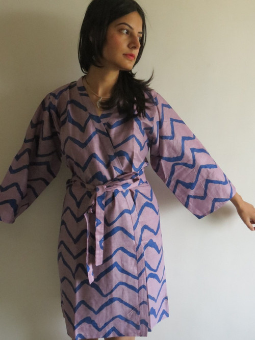 Violet Lilac Chevron Robes for bridesmaids | Getting Ready Bridal Robes