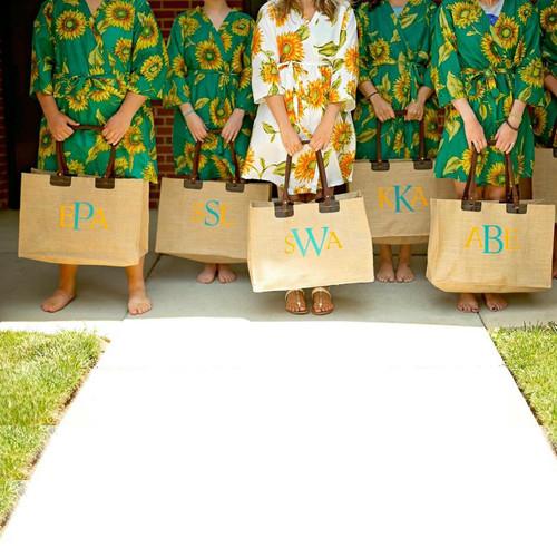 Teal Sunflower Bridesmaids Robes