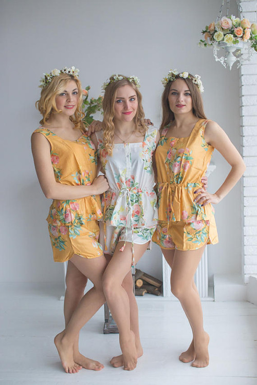 Drawstring Style Pj Sets in Mustard Dreamy Angel Song Pattern