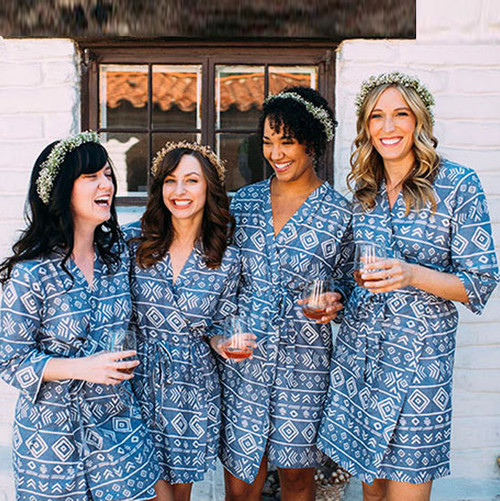 Dark Blue Tribal Aztec Bridesmaids Robes
