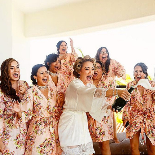 Floral Posy Bridesmaids Robes in Pink