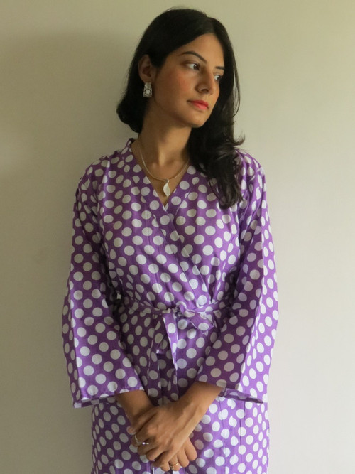 Lilac Polka Dots Robes for bridesmaids | Getting Ready Bridal Robes