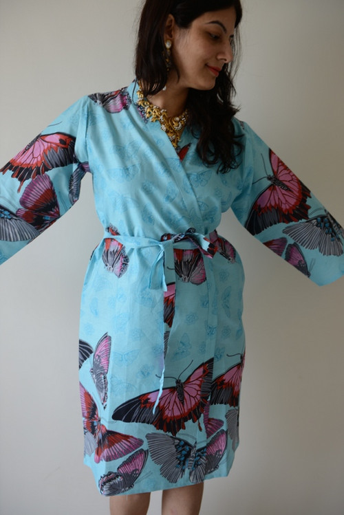Light Blue All Over Butterflies Robes for bridesmaids | Getting Ready Bridal Robes