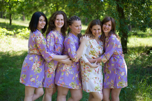 Lilac Flower Rain Robes for bridesmaids