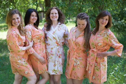 Peach Flowers Rain Bridesmaids Robes