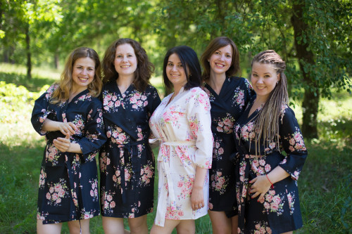 Black Faded Floral Robes for bridesmaids