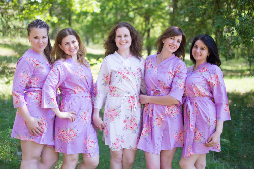 Lilac Faded Floral Robes for bridesmaids