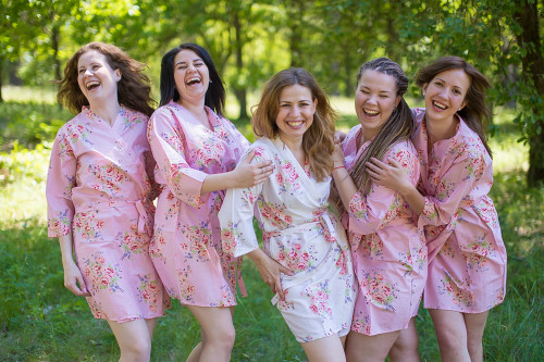 Pink Faded Floral Robes for bridesmaids