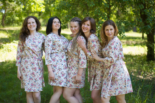 Cream Vintage Chic Small Floral Robes for bridesmaids