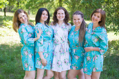 Blue Pink Peonies Robes for bridesmaids