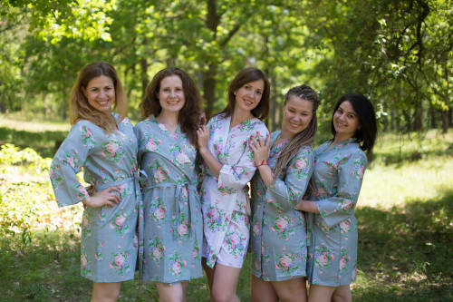 Gray Pink Peonies Robes for bridesmaids