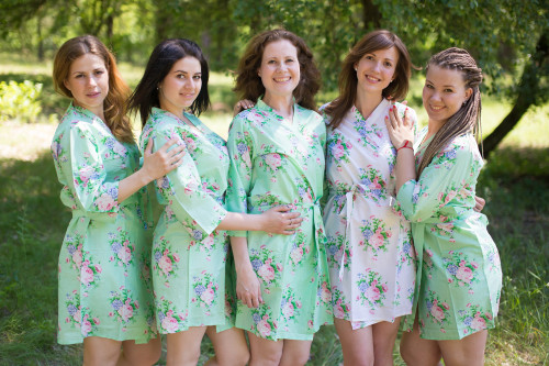 Mint Pink Peonies Robes for bridesmaids