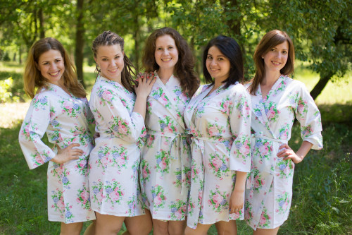 White Pink Peonies Robes for bridesmaids